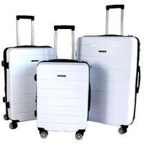 Kit com 3 Malas G, M, P Pacific USA California Polipropileno Ziper Antifurto, Cadeado TSA e Rodas Duplas - Malissima