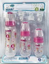 Kit com 3 Mamadeiras Bico transparente - Kuka -