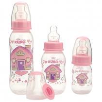 Kit com 3 mamadeiras estojo natural color bico ortodôntico rosa - Kuka