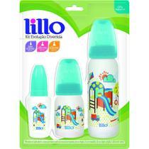 Kit com 3 Mamadeiras Evolução Divertida - Azul - Lillo -