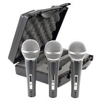 Kit com 3 Microfones de Mão Dinâmico Com Chave CSR HT-48A-3 com Fio - Centro Sul Representações (Csr)