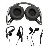 Kit com 3 modelos de fones de ouvido: Headphone, auricular e earphone - Vivitar