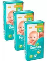 Kit Com 3 Pacotes Fraldas Pampers Confort Sec P Barato -