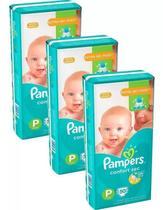 Kit Com 3 Pacotes Fraldas Pampers Confort Sec P -