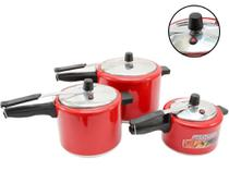 Kit com 3 Panela Pressão Alumínio 7 Litros 4,5 Litros 2,5 Litros Vermelha com Inmetro - Aluminio Extra Forte