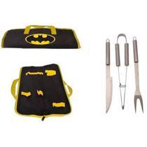 Kit com 3 peças de Churrasco Batman Logo -