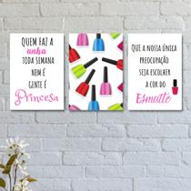 Kit com 3 Placas Decorativas Esmalte Unhas - Bezalel Decora