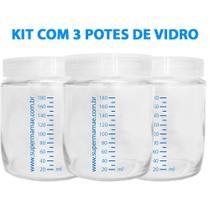 Kit com 3 Potes de Vidro para Armazenar Leite Materno 180ml Com Graduação - Super Mamãe