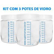 Kit com 3 Potes de Vidro para Armazenar Leite Materno 200ml Com Graduação - Super Mamãe