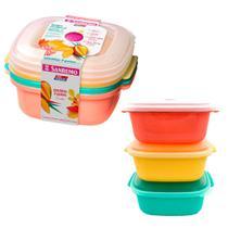 Kit com 3 potes porta mantimentos coloridos 1300ml para freezer e microondas - Sanremo