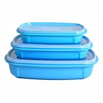 Kit com 3 Potes Retangulares Plásticos Práticos Baixo MB - Mb Plásticos