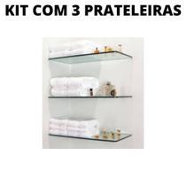 kit com 3 prateleiras para banheiro Vidro incolor TEMPERADO 40X15x4mm espessura  suporte fenda - Elustre