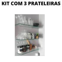 Kit com 3 Prateleiras para Banheiro Vidro incolor Temperado 40X15x4mm espessura suporte fenda - Svt Vidros