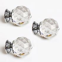 Kit com 3 Puxador Maçaneta De Cristal 30 Mm Para Gavetas E Móveis Bola - Houseria