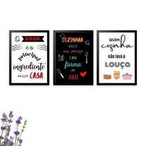 Kit com 3 Quadros Decorativos Cozinhar com Amor - Bezalel Decora