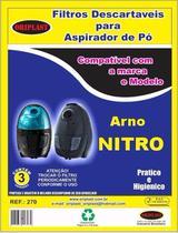 Kit com 3 Sacos Descartáveis Aspirador Arno Nitro 1300 - Oriplast