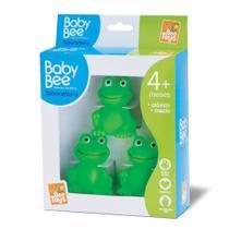 Kit com 3 sapinhos de borracha atóxica banho banheira do bebê sapo - Bee Toys