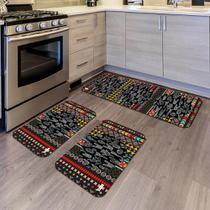 Kit com 3 Tapetes de Cozinha Mdecore Cactos Colorido -