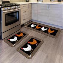 Kit com 3 Tapetes de Cozinha Mdecore Galinha Preto -
