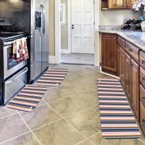 Kit com 3 Tapetes de Cozinha Mdecore Listrado Colorido -