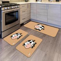 Kit com 3 Tapetes de Cozinha Mdecore Vaquinha Laranja -