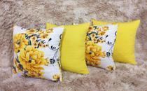 Kit Com 4 Almofadas Cheias Florida Amarela Decorativas 45x45 - Almofadas Belíssima