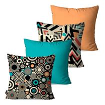 Kit com 4 Almofadas Decorativas Turquesa Abstrato - Pump up