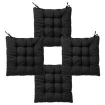 Kit com 4 almofadas futon assento para cadeira - preta - nacional - Artesanal Teares