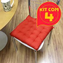 Kit com 4 almofadas futon assento para cadeira - vermelha - Casa Ambiente