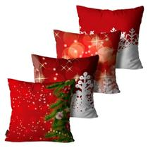 Kit com 4 Almofadas Premium Cetim Mdecore Natal Arvore de Natal Vermelha -