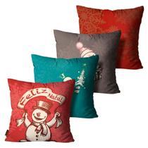Kit com 4 Almofadas Premium Cetim Mdecore Natal Boneco de Neve Vermelha -