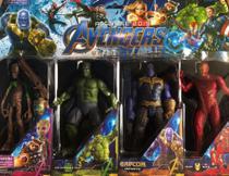 Kit com 4 bonecos vingadores - groot - hulk - thanos infinite - homem de ferro - Avengers