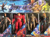 Kit com 4 bonecos vingadores - thor - homem de ferro hulkbuster - thanos infinite - capitã marvel - Avengers