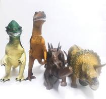 Kit Com 4 Brinquedos Dinossauro Borracha Tamanho Grande - Clio