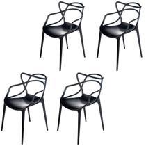 Kit com 4 Cadeiras Allegra de Polipropileno Preta - 173 DPP - Atacadeiras