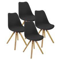 Kit com 4 Cadeiras Eames Leda Cooper Chair Preto - Just Home Collection