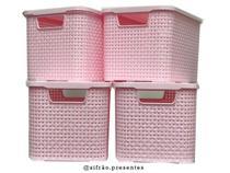 Kit Com 4 Caixas Organizadoras com tampa Rattan 3,5 Litros Monte Libano -
