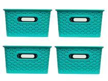 Kit com 4 caixas Organizadoras Rattan com Tampa de 6,5 litros - plasnorthon