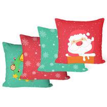 Kit Com 4 Capas de Almofadas Decorativas Guirlanda de Natal - Decoradois