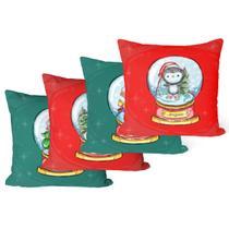 Kit Com 4 Capas para Almofadas Decorativas de Natal Palavras - Decoradois