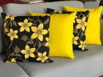 Kit Com 4 Capas Para Almofadas Decorativas De Sofa Amarela e preto - Casa Chic