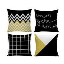 Kit com 4 Capas para Almofadas Decorativas de Sofá Preto e Amarelo - NSW