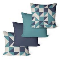 Kit Com 4 Capas Para Almofadas Decorativas Geo Azul - Decoradois