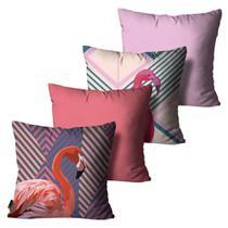 Kit com 4 Capas para Almofadas Flamingo Colorido - Mdecore