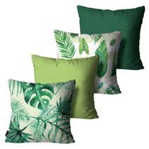 Kit com 4 Capas para Almofadas Floral Verde - Mdecore