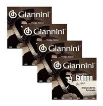 Kit Com 4 Encordoamentos Para Violão Nylon Tensão Alta Guinga - Giannini