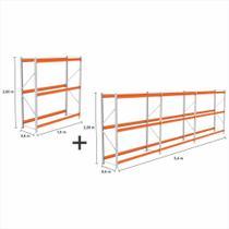 kit com 4 Expositor Mini Porta Pallet 2 inic + 2 cont 250KG Com 3 niveis 2,00X1,80X0,60 Sem Bandeja - Amapa