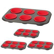 Kit Com 4 Formas Para Cupcake Com 6 Forminhas de Silicone - Emcasa