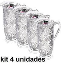 Kit Com 4 Jarras Em Acrilico Decorado 1,5 Litros Incolor Mitro - Xplast