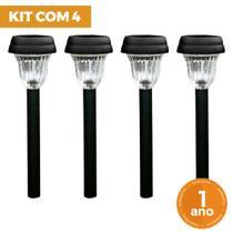 Kit com 4 Luminária Balizadora Poste Solar ABS Espeto de Jardim - LED Branco Frio - Ecoforce -